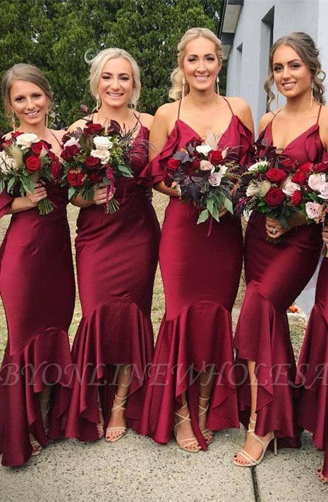 Burgundy 2021 Bridesmaid Dress | Mermaid V-Neck Maid of Honor Dress