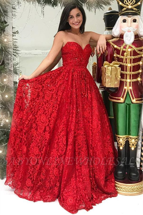 Red Lace Sweetheart Evening Dresses | New in Affordable Ball Dresses Online