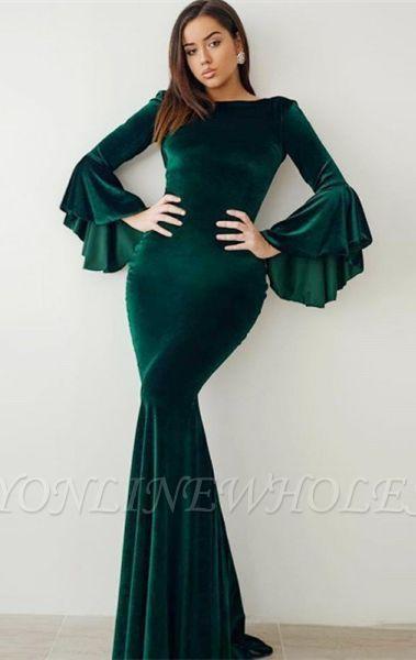 Robes de bal de velours de sirène vert 2021 | Manches évasées robes de soirée vintage