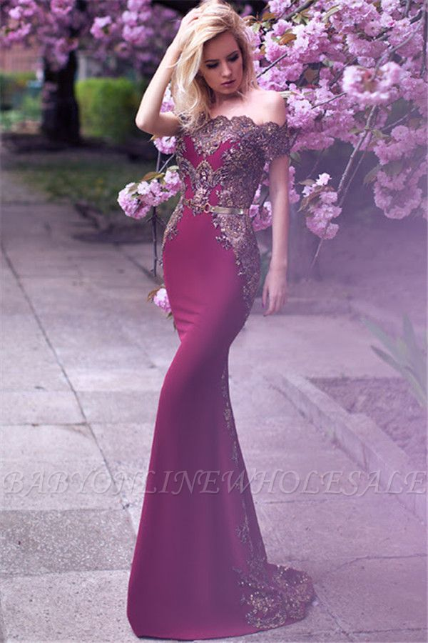 Off The Shoulder Formal Evening Dress Beads Appliques Mermaid Prom Dress with Gold Belt FB0175