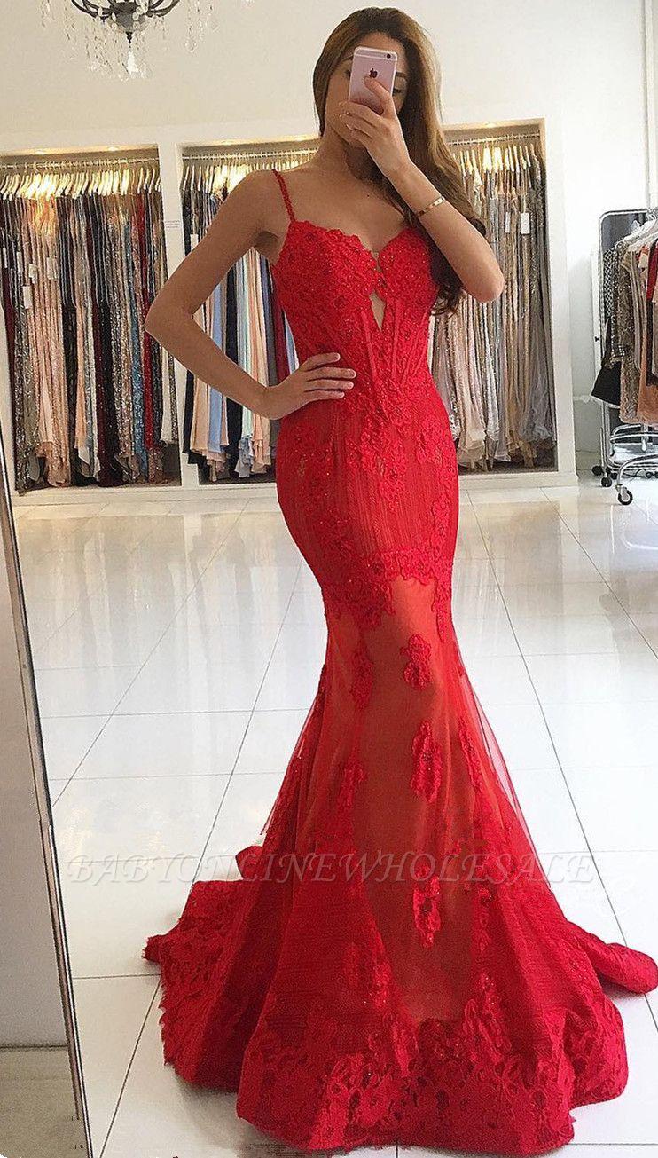 Spaghettiträger Rote Spitze Abendkleider | Günstige Meerjungfrau Sexy Ballkleider BA6685