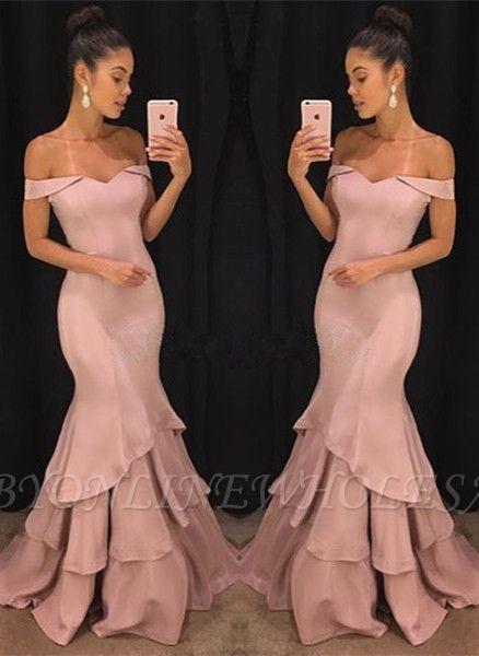 Sexy Schulterfrei Meerjungfrau Abendkleider Günstige    Elegante Rosa Abendkleider Online SK0118