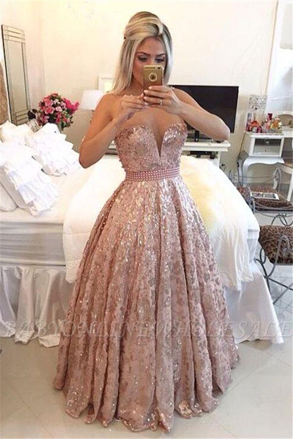 Sexy Rosa Abendkleider A-Linie | Schöne Schulterfrei Abendmode Glitzer