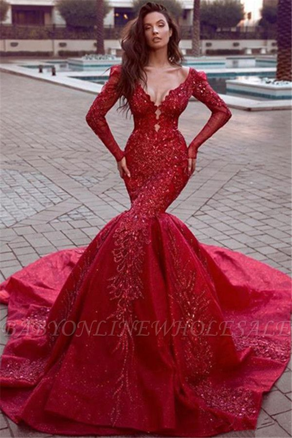 Stunning Long Sleeves Mermaid Evening Dresses with Train | Hot Backless Lace Crystal Prom Dresses BC0669