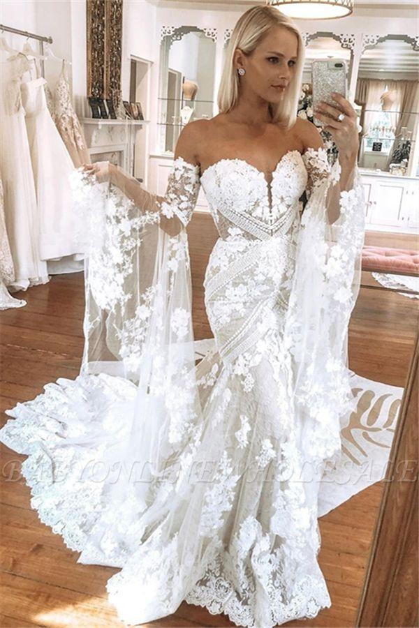 فساتين الزفاف الدانتيل الأبيض حبيبته أنيقة مع قطار الكنيسة