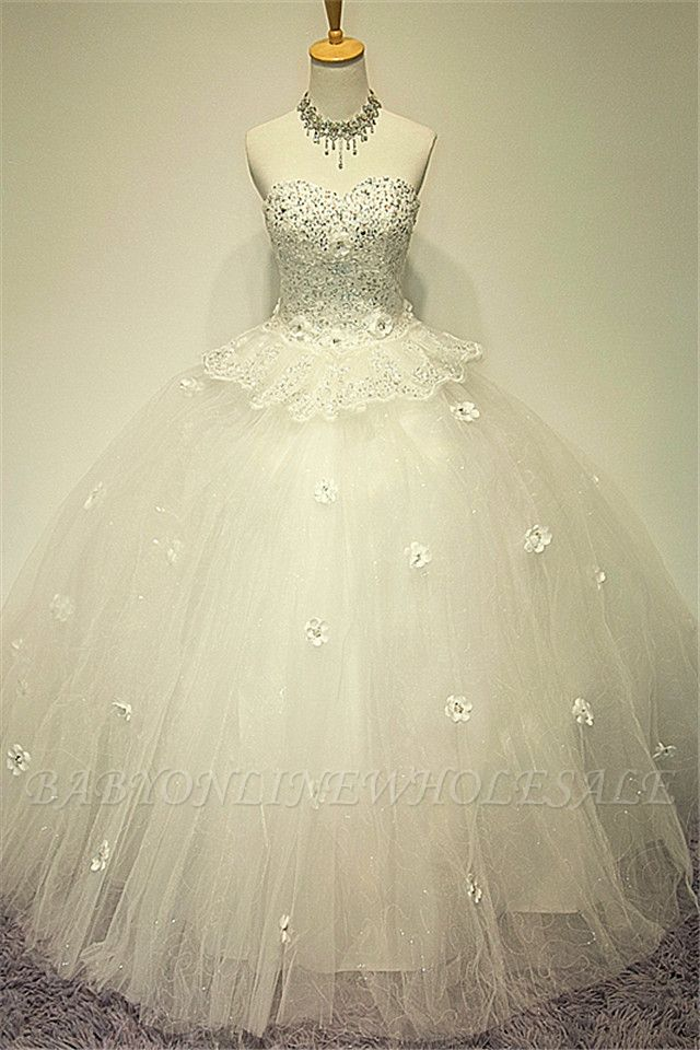 White Sweetheart Crystal Ball Gown Wedding Dress Applique Elegant Sexy Lace-up Tulle Bridal Gown