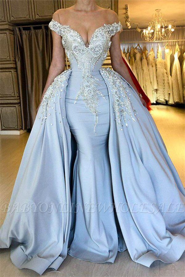 Blaue sexy Meerjungfrau mit kurzen Ärmeln Promkleider 2021 | Crystal Overskirt Abendkleider Online