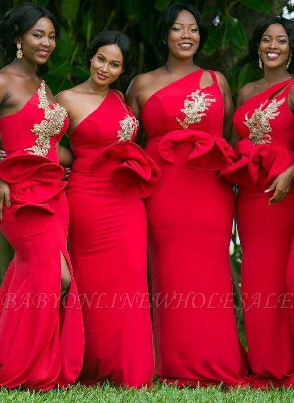One-Shoulder Red Bridesmaid Dresses Plus Size Mermaid Wedding Party Dress