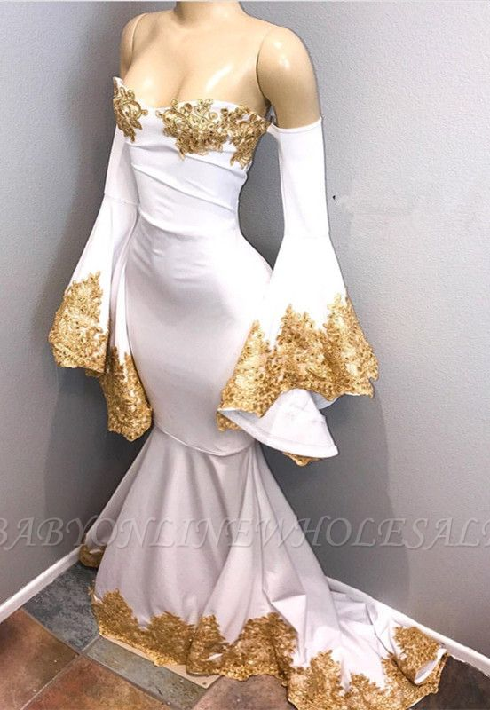 Long sleeve prom dress with gold appliques, mermaid evening dress BA8276