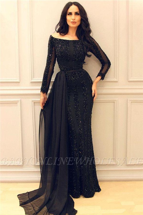 Schöne Schwarz Pailletten Abendkleider Lang Ärmel | Schöne Abendkleider Schulterfrei