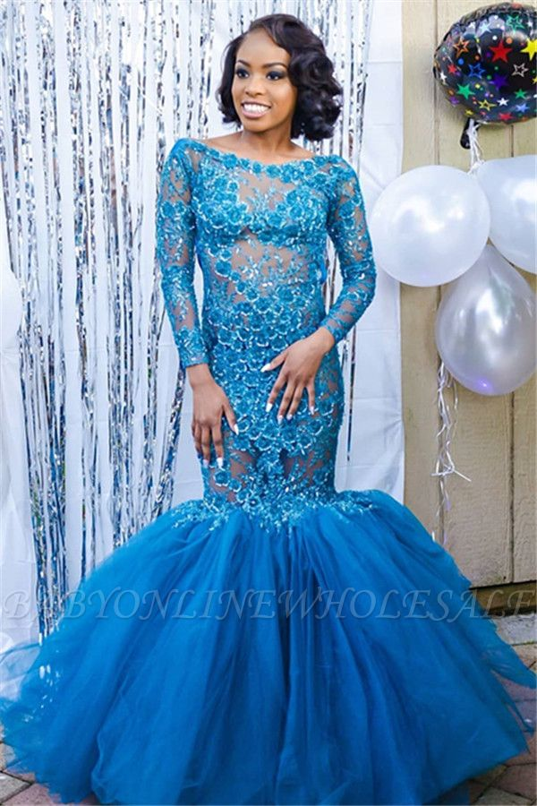 Elegant Blue Long Sleeves Lace Prom Dresses | Affordable Wholesale Fit and Flare Open Back Evening Dresses