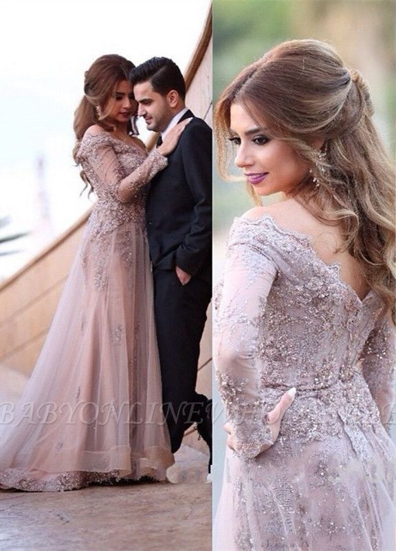 Elegant Off The Shoulder Lace Appliques Long Sleeve A-line Zipper Sweep Train Sexy Evening Gown