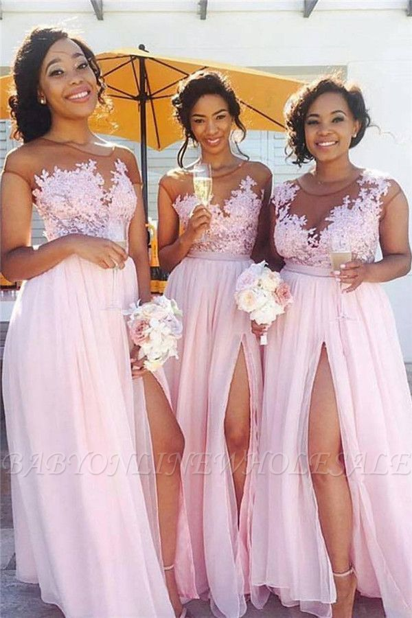 Pink Lace Chiffon Sexy Bridesmaid Dresses Splits Long Dress for Maid of Honor Online BA6919