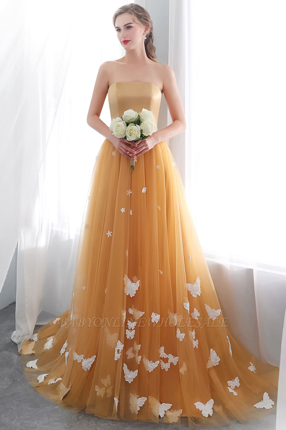 NELL | Aline Floor Length Strapless Appliques Tulle Evening Dresses with Robbion