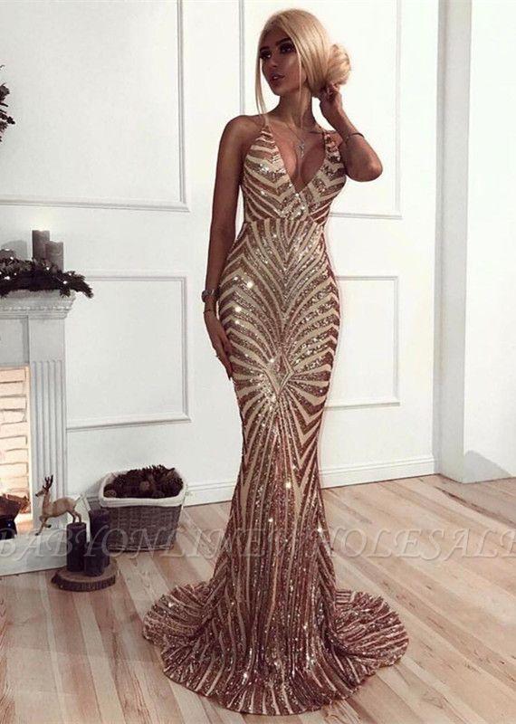 Sexy V-Neck Mermaid Prom Dress | Sequins Long Evening Dress