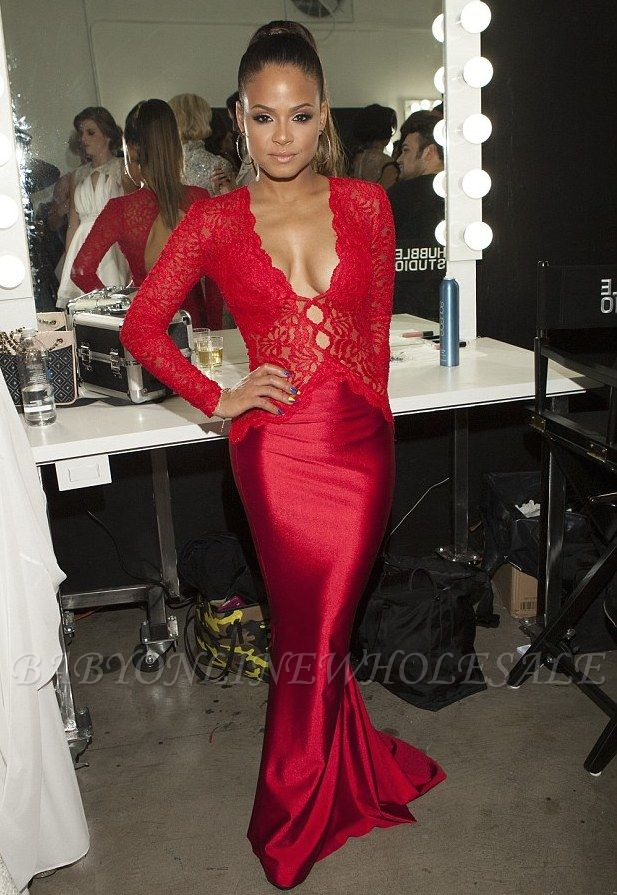 Newest Red Lace Mermaid Prom Dress Long Sleeve V-neck