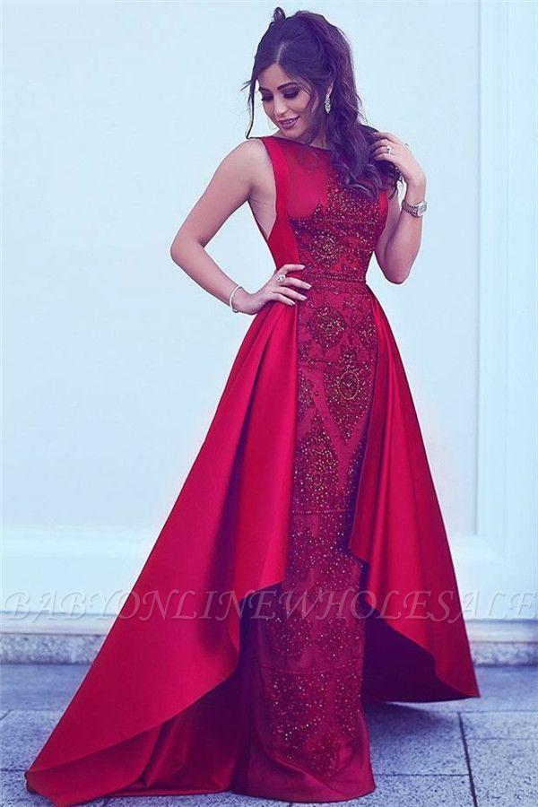 Cuentas Lentejuelas Vestidos de noche sexy populares Overskirt Vestidos de noche formales sin mangas rojos BA7428