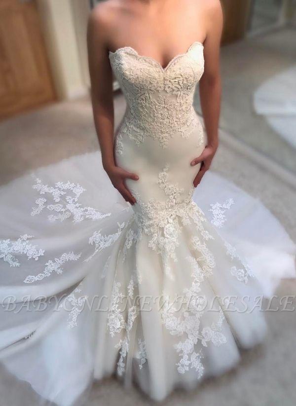 Elegante Spitze Brautkleider Bodenlang | Schulterferi Brautkleider Günstig