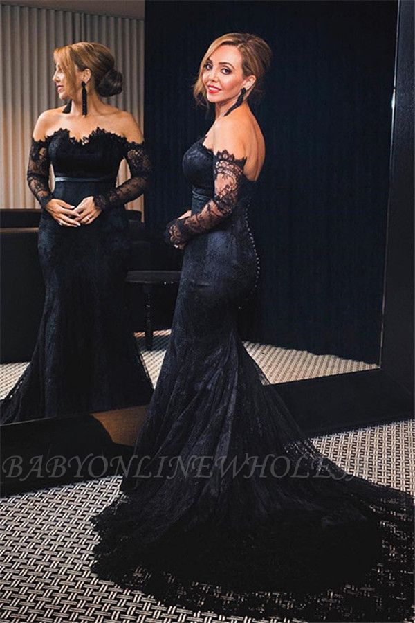 Black Lace Off The Shoulder Prom Dress  Mermaid Long Sleeve Sexy Evening Gowns with Buttons
