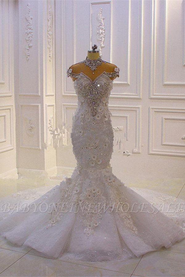 Délicate sans manches perles pure Tulle Appliques sirène robes de mariée scintillantes