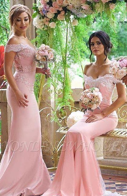 Elegante Rosa Schulterfrei Spitze-Applikationen Brautjungfernkleider | Lange Brautjungfernkleider Meerjungfrau