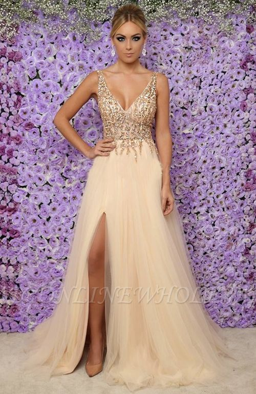 Sexy V-Neck Sleeveless Long Evening Dresses | Tulle Crystals Side Slit Prom Dress