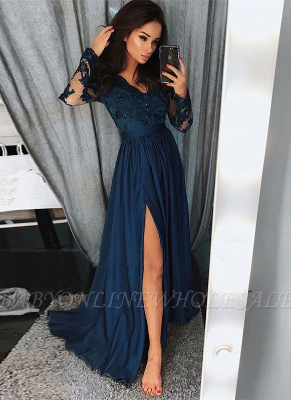 Newest Long Sleeve Lace Beads Prom Dress | Front Split Prom Dress