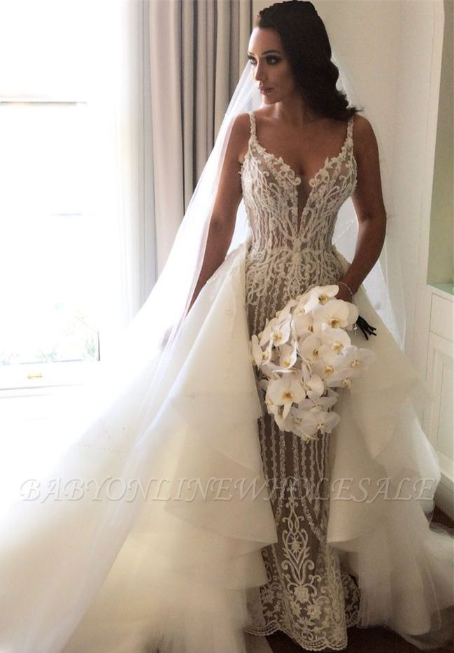 Gorgeous Lace Mermaid Wedding Dresses Cheap with Detachable Train | Straps Sexy Sleeveless Bride Dress