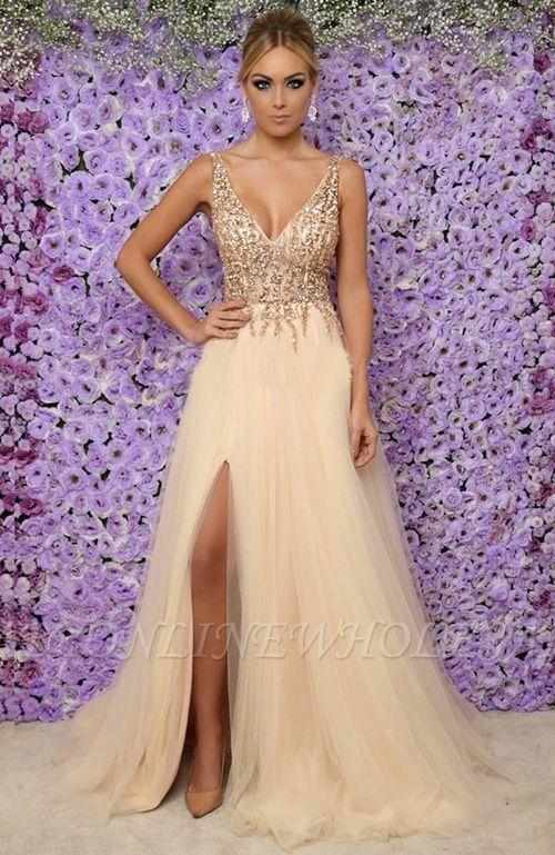 Vestidos de noche largos sin mangas con cuello en V sexy | 2021 Tulle Crystal Side Slit Vestidos de baile baratos