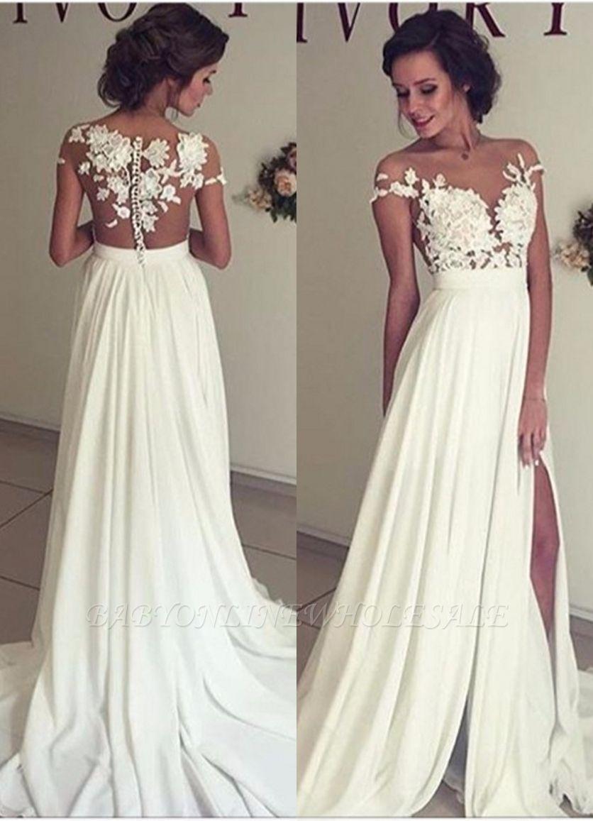 Elegant Lace Appliques Wedding Dress Long Chiffon Split