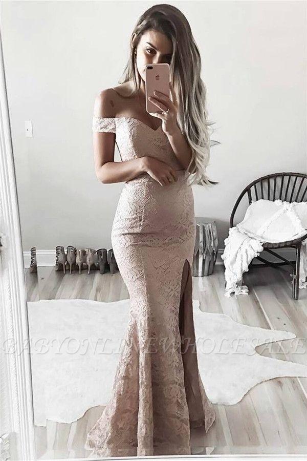 Schlichte Spitze Abendkleider Schulterfrei | Sexy Side Schlitz Abendkleider BA6243