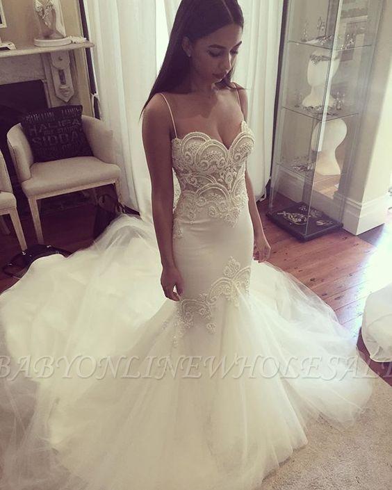 Robe de mariée chérie à fines bretelles Robe de mariée en tulle à bretelles d'été