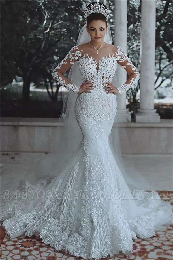 Luxury Beaded Lace Mermaid Wedding Dresses with Sleeves | Sheer Tulle Appliques Cheap Bride Dresses