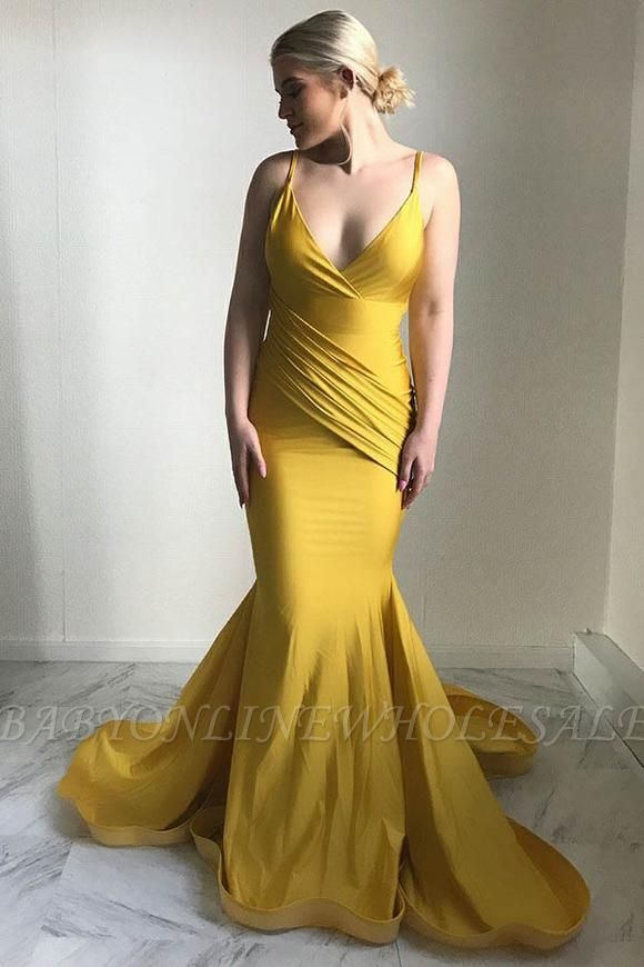 Elegant V-Neck Evening Dress | 2019 Mermaid Yellow Prom Dress