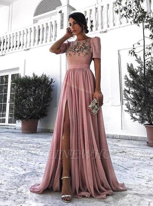 Una línea de manga corta apliques de encaje sexy vestidos de noche | Vestido de fiesta con volantes con aberturas laterales
