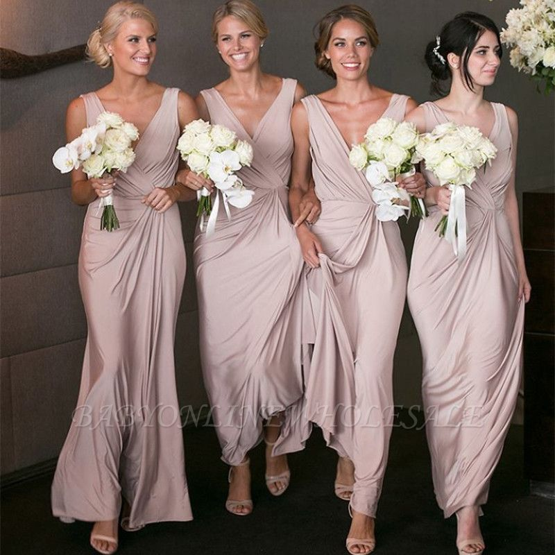 Elegant V-neck Sexy Bridesmaid Dresses Cheap Long Party Dress for Maid of Honor