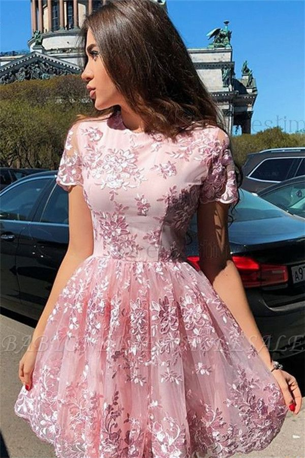 Gorgeous Pink Short Sleeves Homecoming Dresses Cheap | Lace Appliques Short Hoco Dresses
