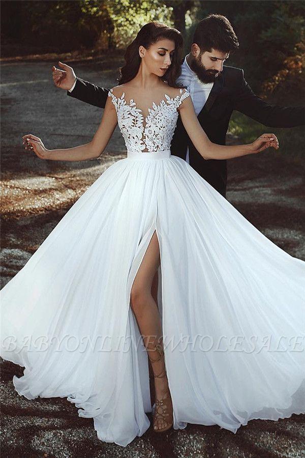 Apliques de renda Chiffon casamento vestidos Sexy | Front Slit pura noiva vestido