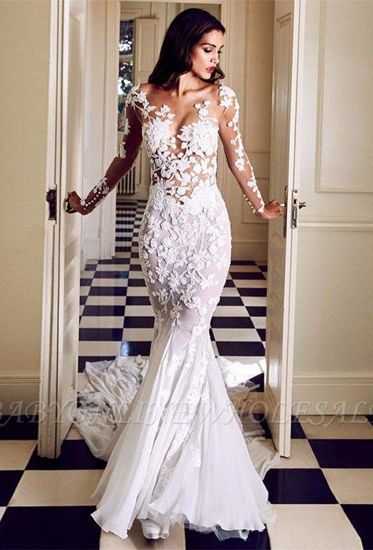 الساحرة الرقبة الطاقم طويل حورية البحر الرباط يزين فساتين الزفاف | كم طويل أثواب الزفاف ضئيلة