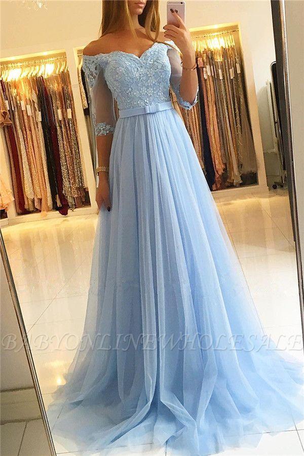 Off The Shoulder Half Sleeve Evening Dresses | Formal Lace Appliques Prom Dress with Belt