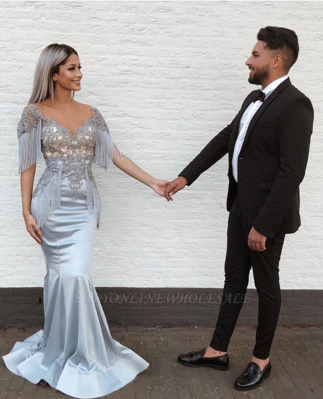 Elegant Mermaid Sky Blue Evening Gowns | V-Neck Prom Dresses with Tassels