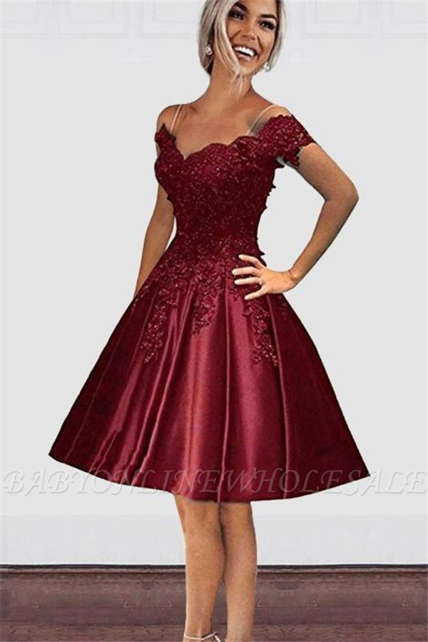 Burgundy Short Sleeves Lace Cheap Homecoming Dresses   Off-the-Shoulder Short Evening Dresses