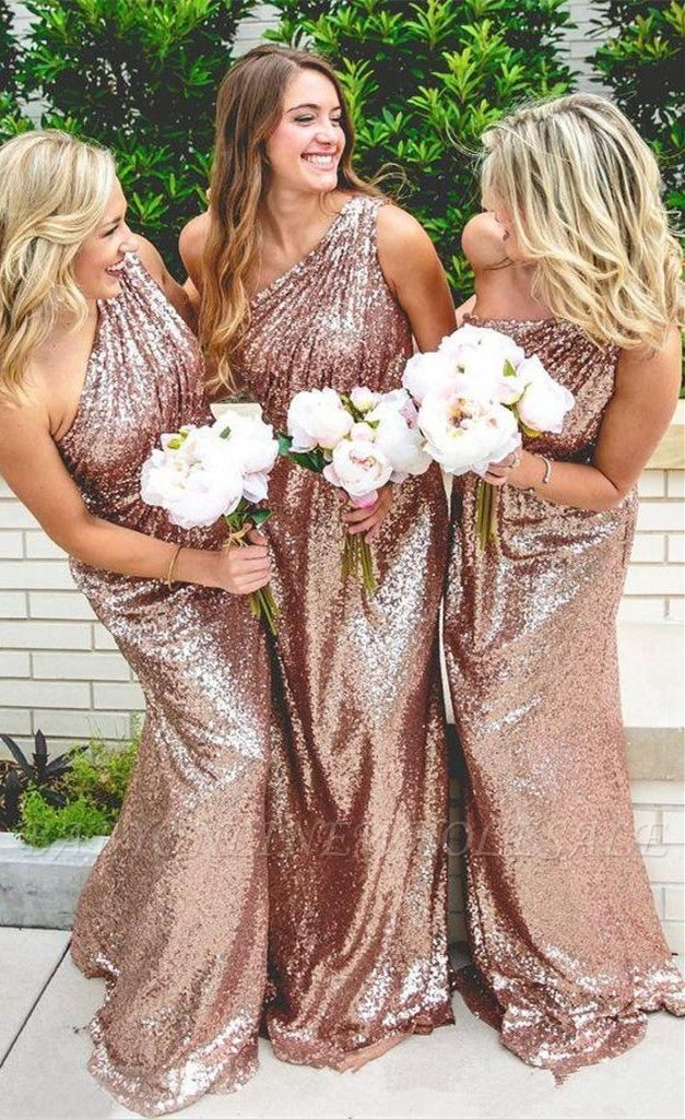 One Shoulder Shiny Sequins Bridesmaid Dresses Long Dress for Maid of Honor