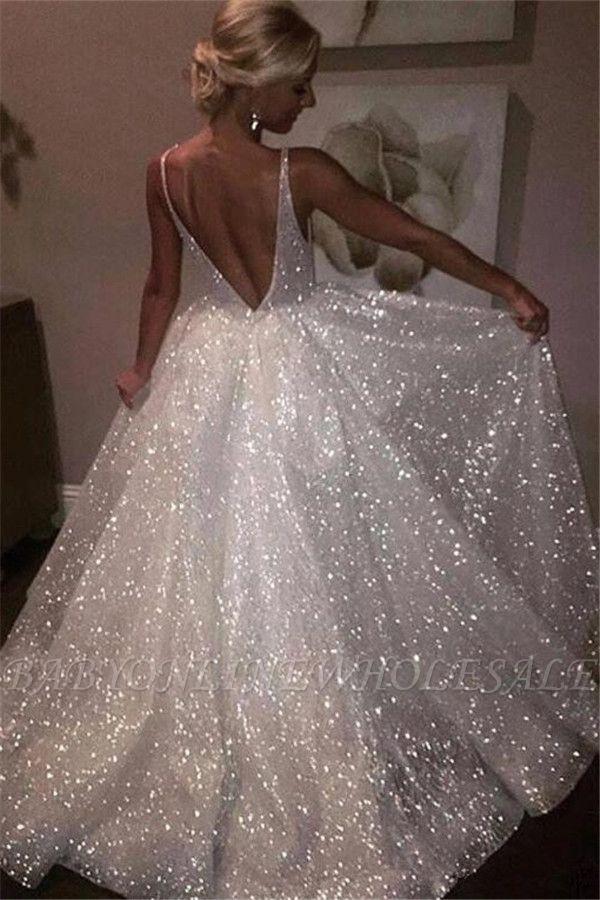 Bling aberto de volta vestidos de baile sem mangas   A linha de vestidos de noite brilhantes