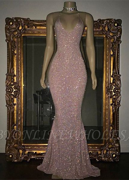 Stunning Sequined Mermaid Spaghetti-strap Long Sleeveless Prom Dress