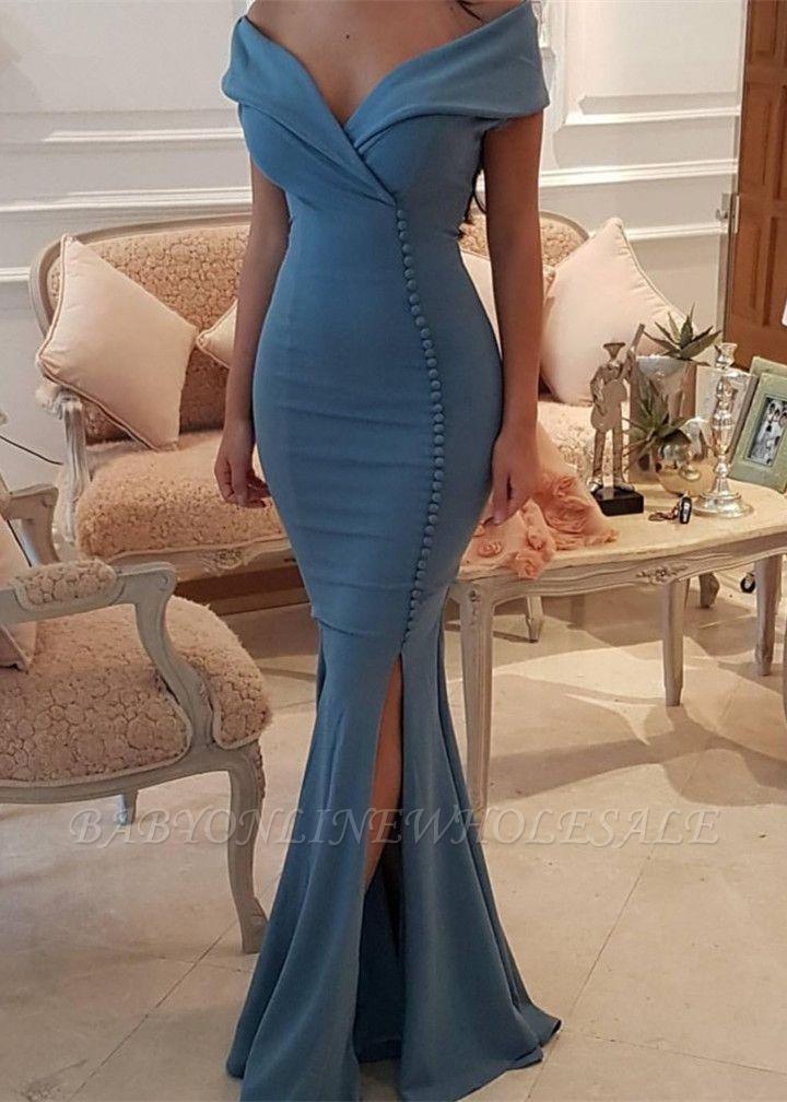Elegant Off-the-Shoulder Slit Mermaid Buttons Evening Dress Long On Sale BA7331
