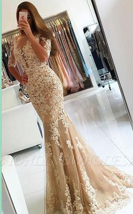 Champagne half-Long-Sleeves Open-Back Lace Mermaid Prom Dresses