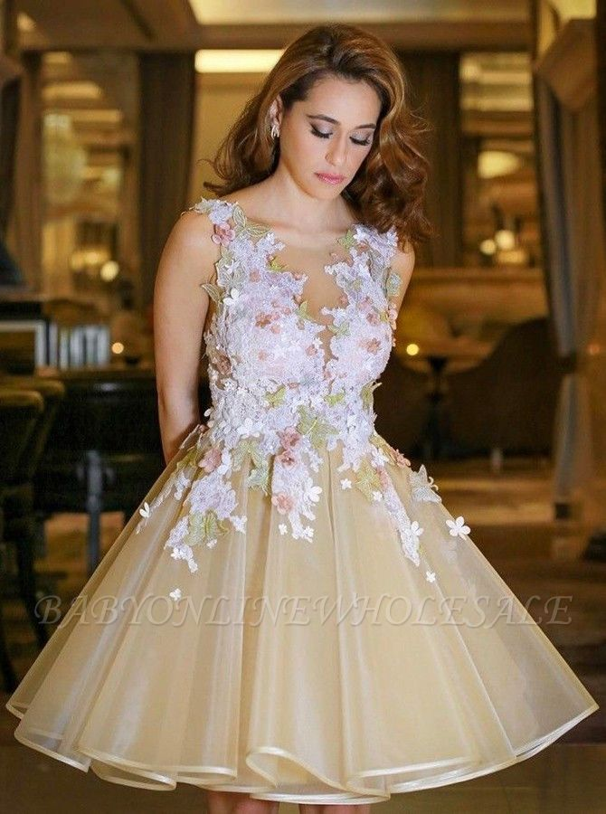 Gorgeous A-Line Flowers Homecoming Dresses | Sleeveless Open Back Short Hoco Dress
