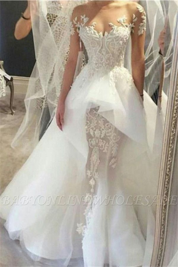 Wholesale Fit and Flare Tulle Lace Wedding Dresses | Short Sleeves Court Train Bridal Gown
