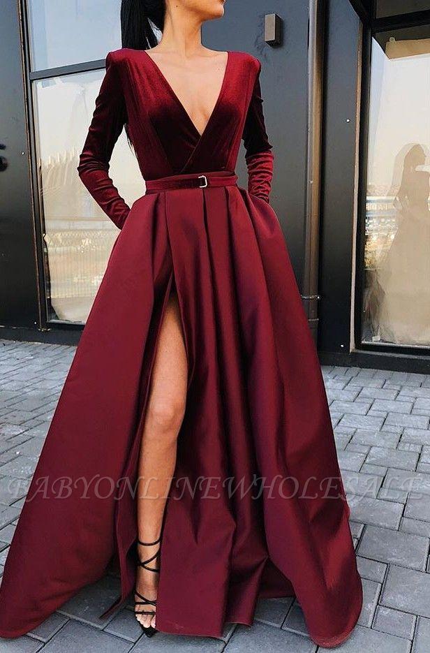 Popular Deep V Neck Long Sleeves Floor-Length Evening Dress   2021 Burgundy Front Split Prom Gown BC0785